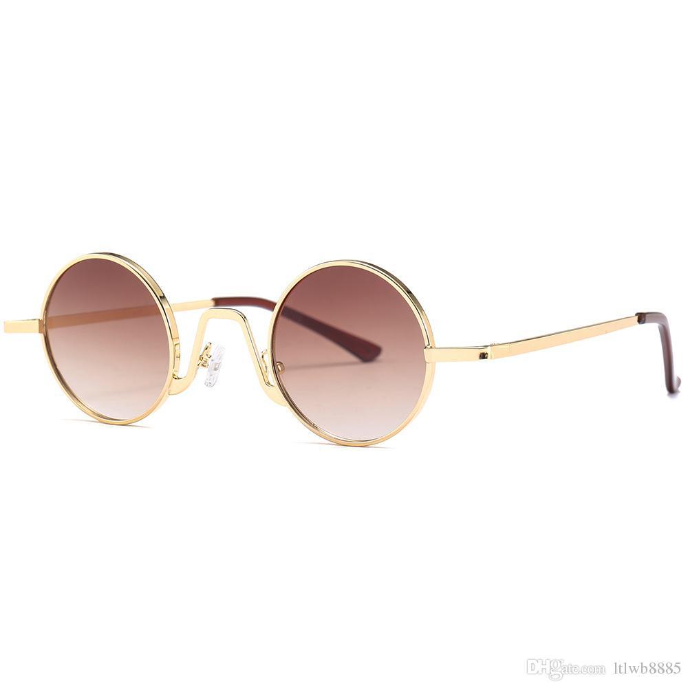 dd375fae401 2018 New Steampunk Retro Small Oval Sunglasses Men Women Celebrity ...