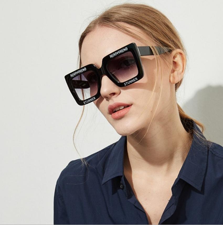 Großhandel Übergroße Rechteckige Sonnenbrille Retro Großes ...