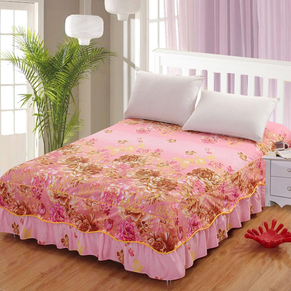 2018 Floral Fitted Sheet Cover Bedspread Bed Skirt Fitted Sheet