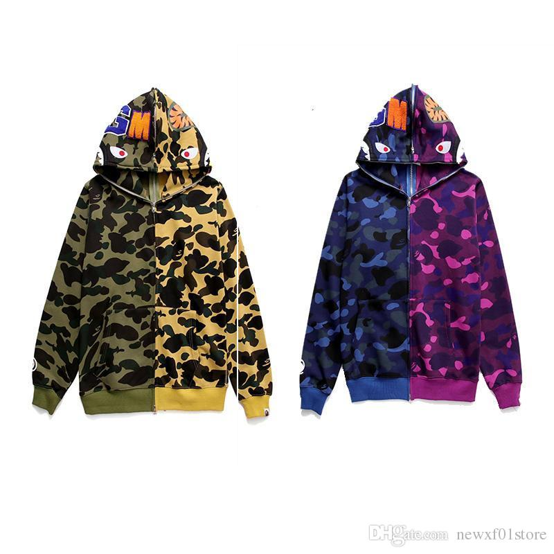 f5af77c5f044 2019 A Bathing A Ape 1BAPE Jacket Men Shark Head FULL ZIP HOODIE Camo Shark  Wide Pullover Hoody Sweater Jacket From Newxf01store