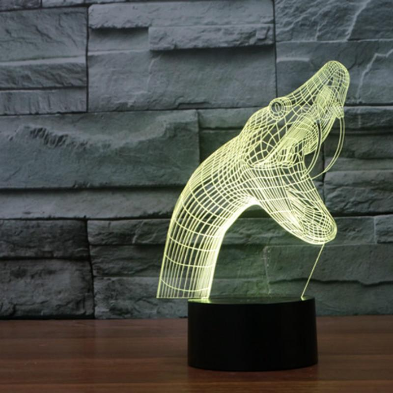 Lower Price with New Shark 2 3d Light Colorful Touch Led Visual Light Gift Atmosphere Table Lamp Lights & Lighting