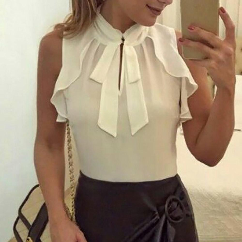 a5a89580cce9 2019 Summer Tops For Womens Tops And Blouses 2018 White Elegant Ruffle Bow  Tie Sleeveless Shirts Tunic Ladies Top Clothes Womens From Carawayo