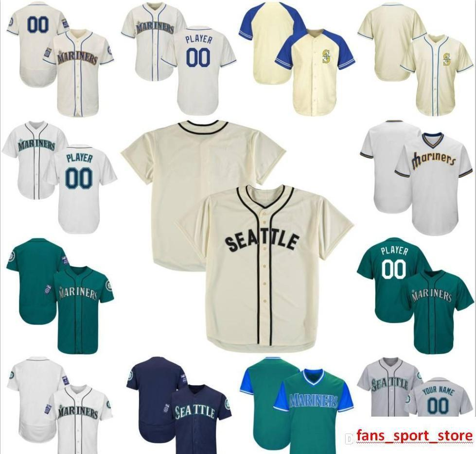 8bcf1450e 2019 Custom Mens Womens Youth Mariners Baseball Jerseys White Navy Grey  Blue Cream Green Stitched Any Name Any Number Flex Base Cool Base Jersey  From ...