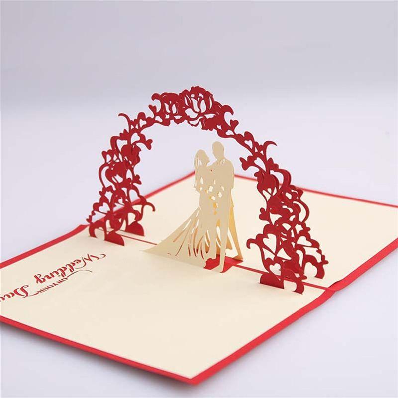 New Red Unique Design 3d Bride Groom Wedding Invitation Cards With