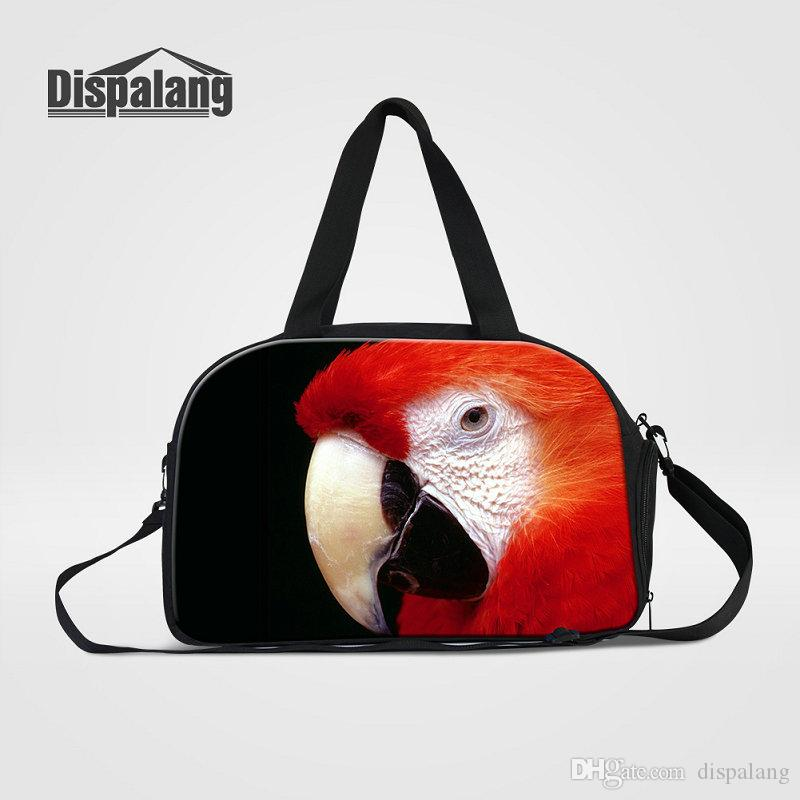 4f60b60b3e Cute Parrot Animal Printing Women Canvas Duffle Bag With Shoes Pocket Bird  Pet Design Teens Weekend Bags Girls Overnight Gym Sport Hand Bags Satchel  Bags ...