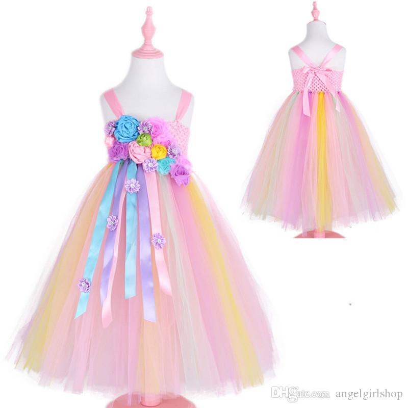8bb1fd3ffde0a New Flower Girl Dresses Girl's Unicorn Rainbow Dress Strapless Ankle Length  Ball Gown For CHRISTMASBirthday Party Wedding Bridesmaid Dresses