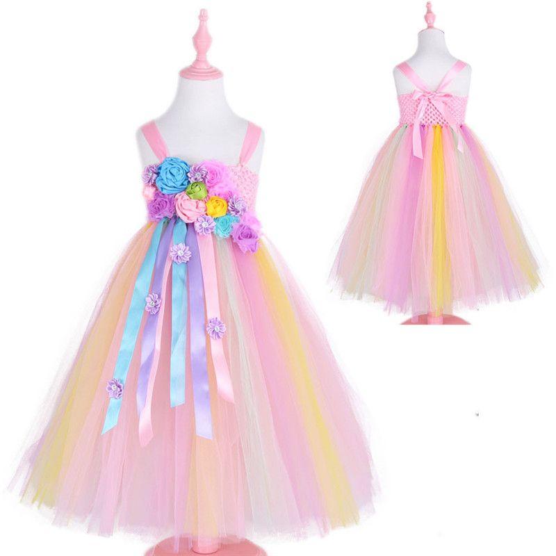 c34aaf1c9 Compre Nuevos Vestidos De Niña De Las Flores Del Vestido Del Arco Iris Del  Unicornio De La Muchacha Sin Tirantes Longitud Del Tobillo Vestido De Bola  Para ...