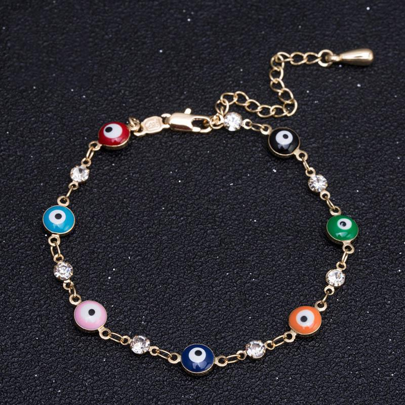 2c0fa840f2ecf 2019 Fashion Gold Evil Eye Bracelet For Women Stainless Steel Colorful  Enamel Beads Charm Chain Crystal Bracelet Bangles Party Jew From Zebrear