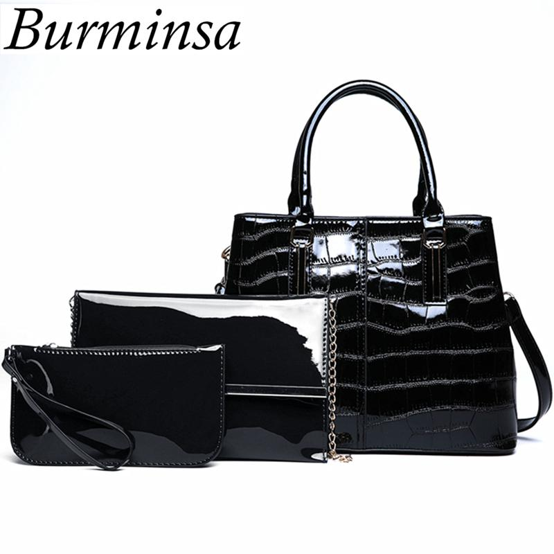 db4067c155b Burminsa 3 Sets Crocodile Black Patent Leather Handbags Women Shoulder  Messenger Bags Vintage Composite Bags With Clutch Purse