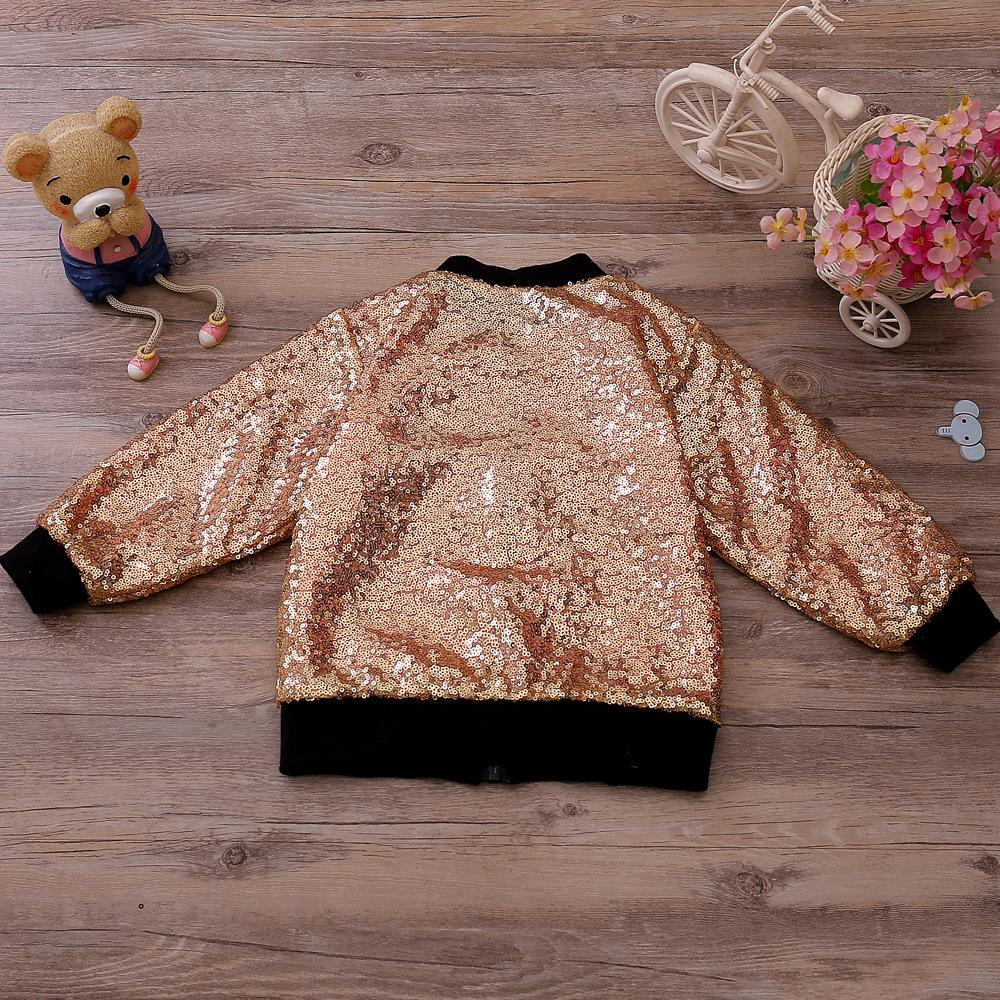 Top Selling Children Boys Girls Spangely Spring Autumn Jacket 2017 INS European and American Kids Zip Open Top Clothing