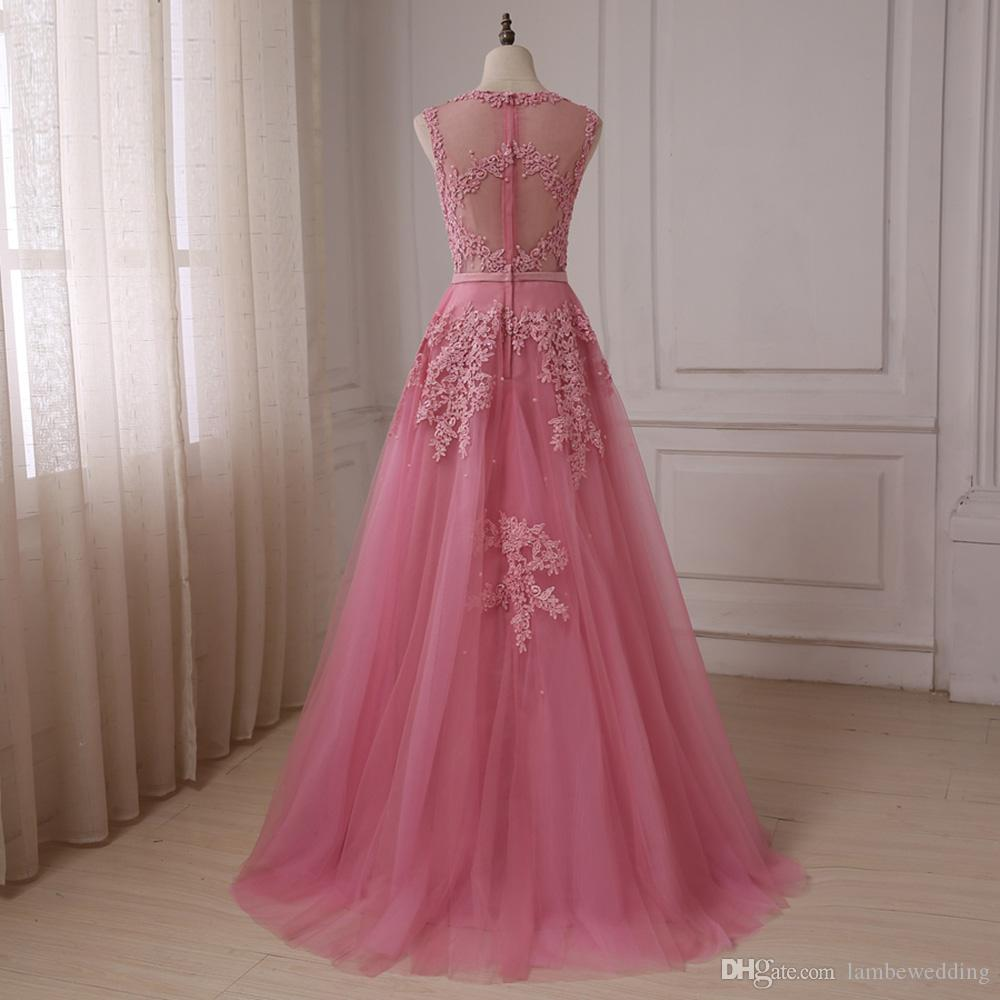 2018 Best Sale Real Photos Scoop A-Line Tulle Lace Appliques With Pearls Sequined Illusion Bridal Gowns Sweep Train Colorful Wedding Dress