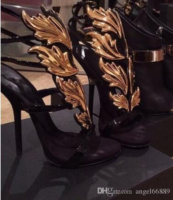 f5a2d61c40df Amazing Lady Angel Wings Black Nude Thin High Heels Sandals Gladiator Rome  Wedge Women Golden Leaf Leather Pumps Shoes Discount Sperry Shoes Silver  Heels ...