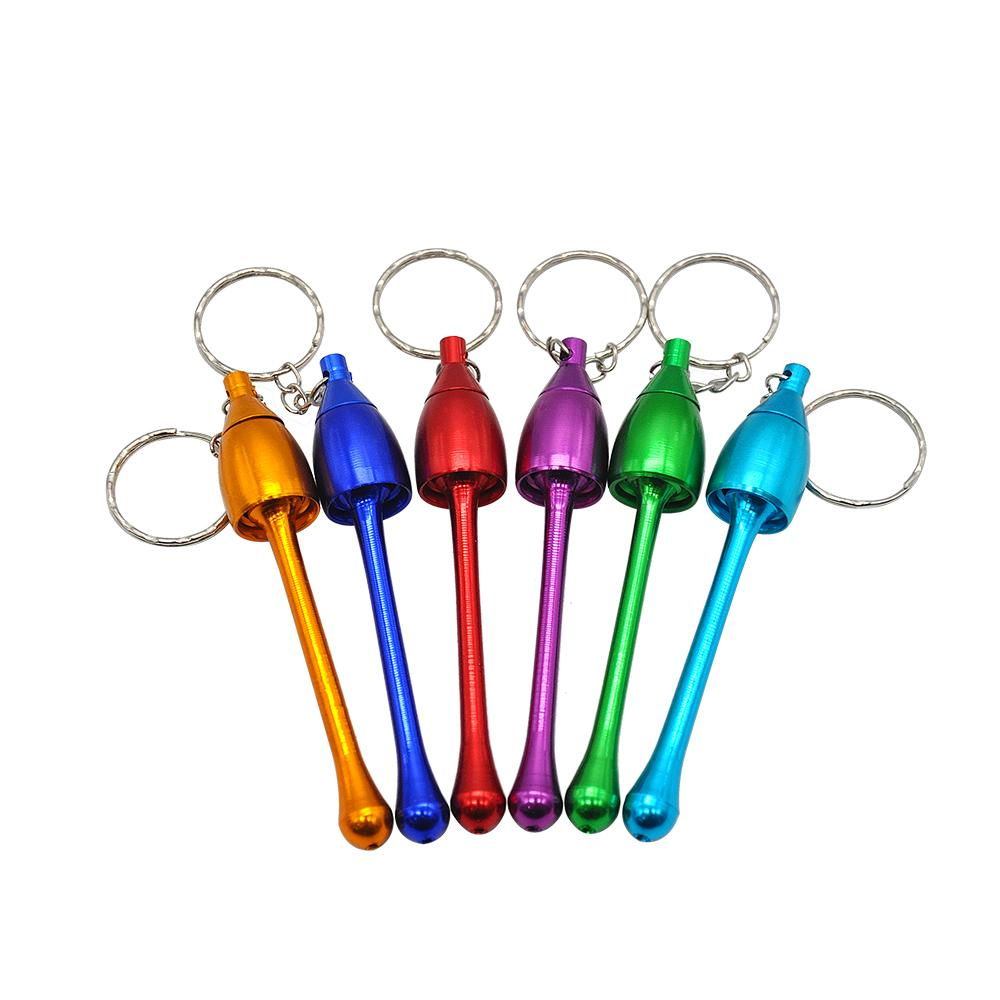 Retail Wholesale Key Chain Style Mushroom Tobacco Pipe Metal Mini Smoking Pipe Smoking Accessories Mix Color