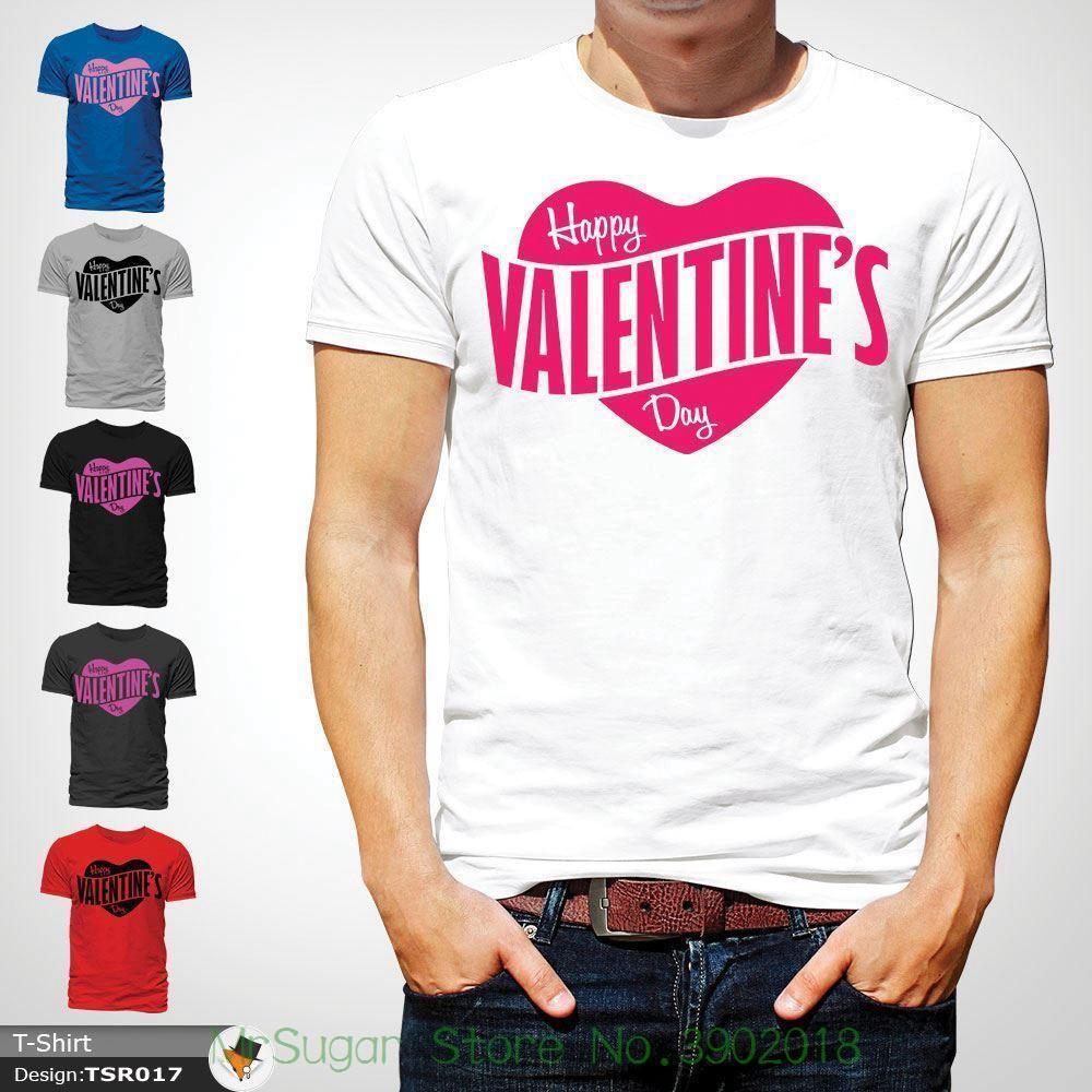 Mens Boys Happy Valentines Day Heart Logo Party Designer T Shirt Top