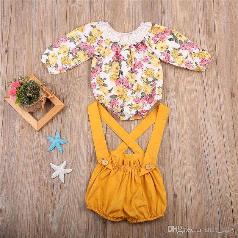New Arrival Spring Autumn Fashion Baby Girls Floral Printing Romper + Suspender Pants Sets Children Clothing B11