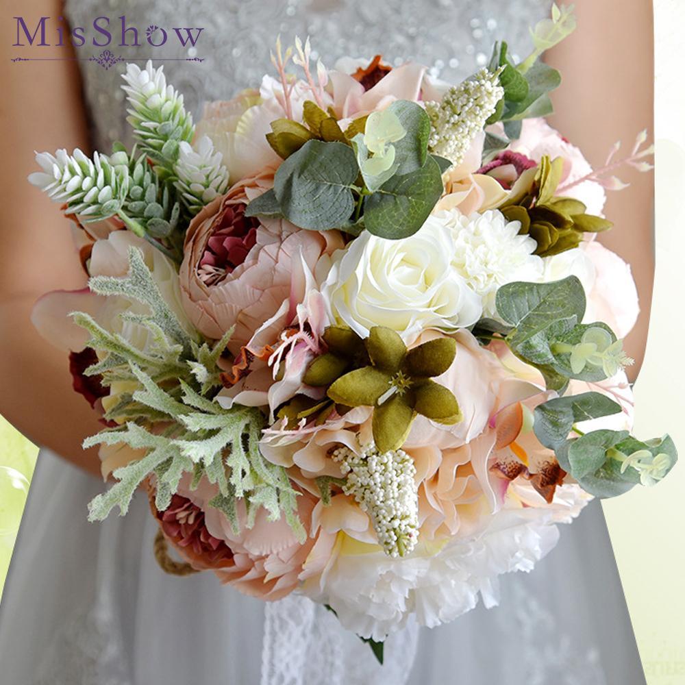 Grosshandel Boquet Casamento Rosa Weisse Rote Blumen Brautstrausse