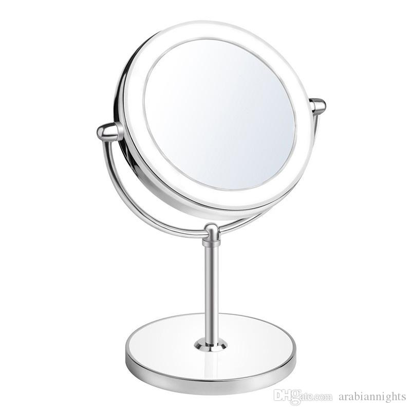 2018 double sided lighted vanity makeup mirror with led lights1x 2018 double sided lighted vanity makeup mirror with led lights1x10x magnification round shape with base touch button from arabiannights 1739 dhgate aloadofball Gallery