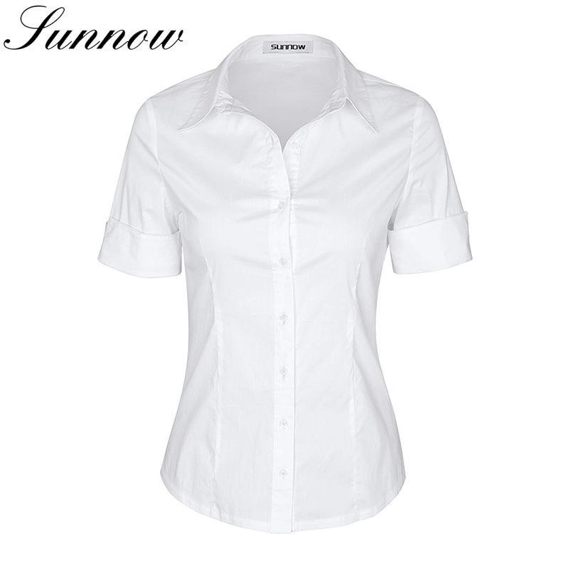 0336e84914 Compre SUNNOW Camisa De Manga Corta Para Mujer Blusa Con Botones Simples  Estirar Camisas Delgadas Girl Students Tops Damas Elegante Ropa De Trabajo  Blusa A ...