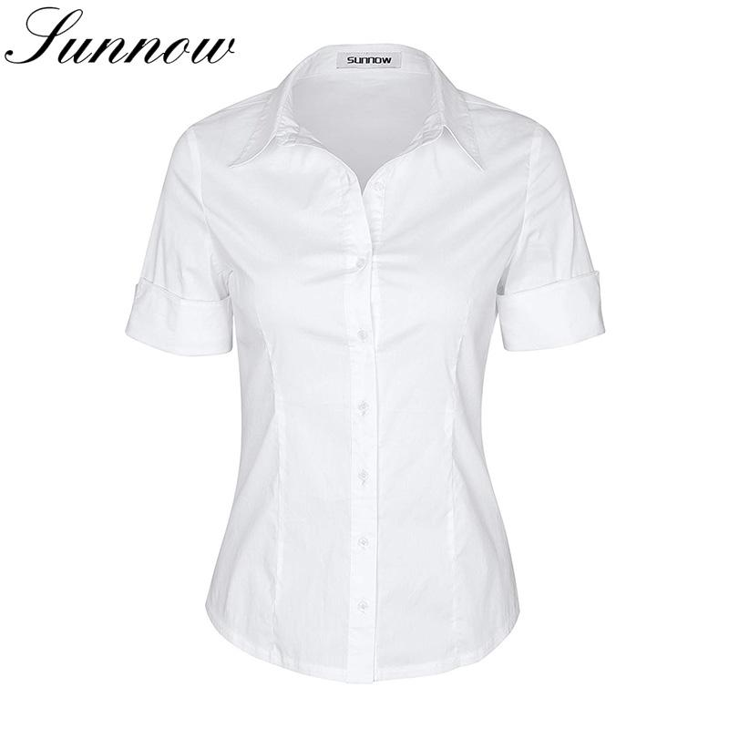 SUNNOW Short Sleeve Shirt Women Simple Button-Down Blouse Stretch Slim  Shirts Girl Students Tops Ladies Elegant Work Wear Blouse