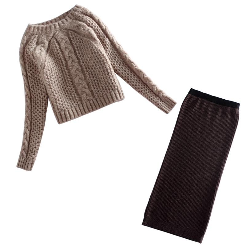 f9ad84e1d79fda Fall Winter Women Suit Long Sleeve Knitted Sweater Tops+Long Skirt High  Quality Elegant Office 2 Two Piece Sweater Skirt Set D18110604 UK 2019 From  Shen8403 ...