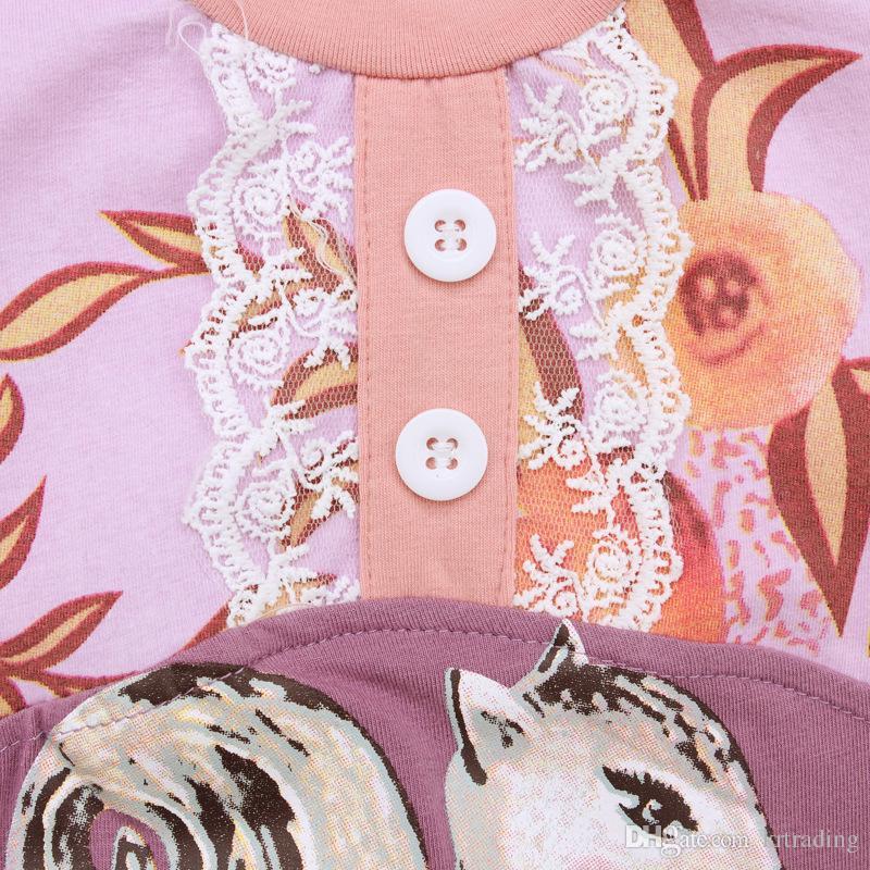 Baby squirrel long sleeve onesie Cute girls animal pattern long sleeve jumpsuit for 0-2T