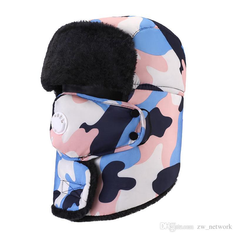 fb226075c Solid Camo Winter Trapper Hats with Ear Flaps Ushanka Aviator Russian Hat  Winter Outdoor Warm Hats for Men Women Skiing Sport Windproof cap