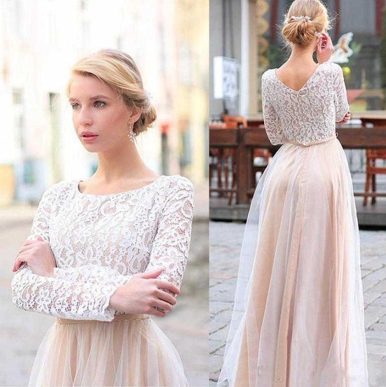 2018 Sexy Blush Pink Lace Wedding Dresses Long Sleeves Scoop Neck