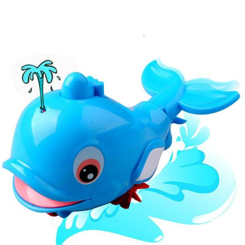 New Born Babies Swim Dolphin Wound-Up Chain Small Animal Bath Toy Classic  Toys High Quality