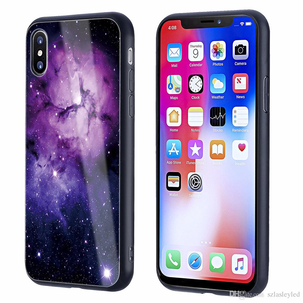 separation shoes fff1a 86dcb hot sale cell phone case ultra thin back cover Tempered glass painted star  sky full protection tpu pc hybrid case for iphone X