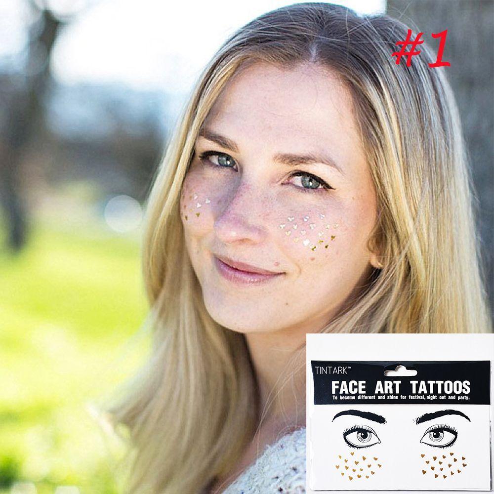 544f183c1 Fashion Disposable Waterproof Bronzing Freckles Gold Face Eye Tattoo Beauty  Make Up Flash Body Art Stickers Temporary Art Tattoos Temporary Custom  Tattoo ...