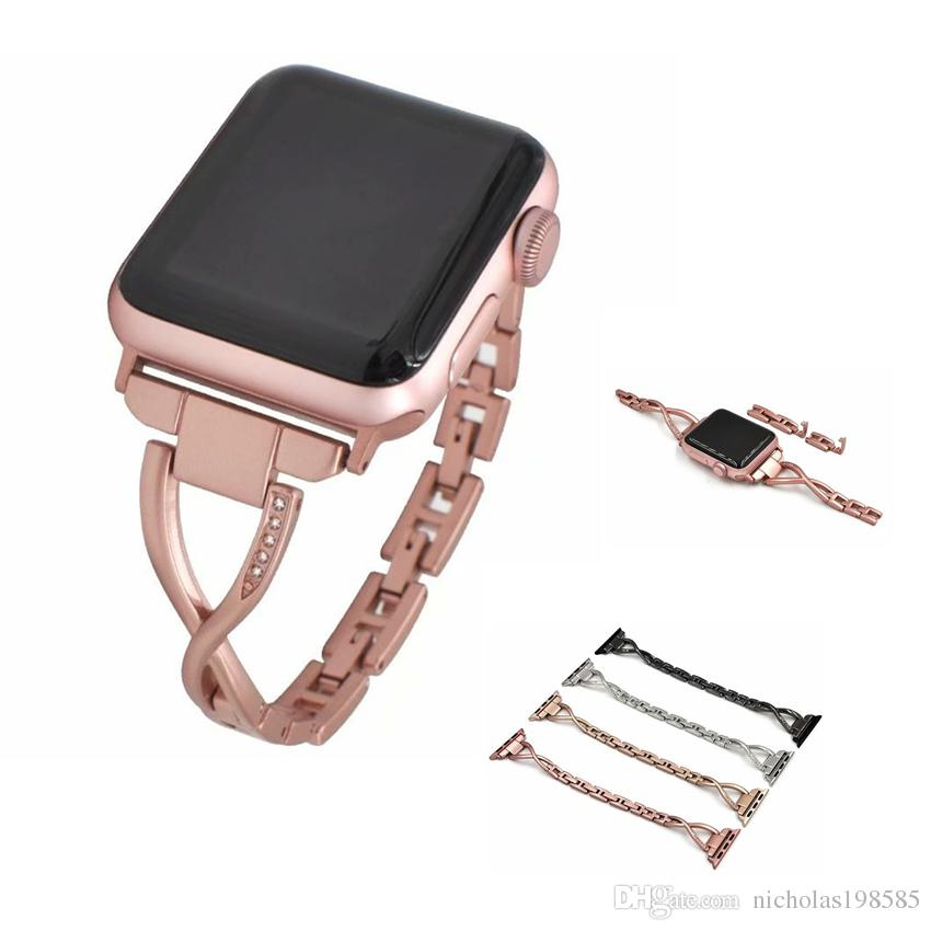 be9fa5500bc Women Watch Band For Apple Watch Iwatch Watchbands 38mm 42mm Diamond Stainless  Steel Strap For Iwatch Series 4 3 2 1 Bracelet Smart Straps Watches Leather  ...