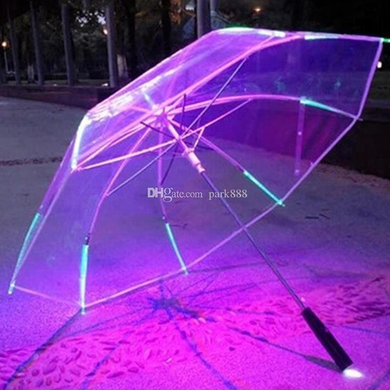 Changing Color LED Luminous Transparent Umbrella Rain Kids Women with Flashlight For Friends Best Gift