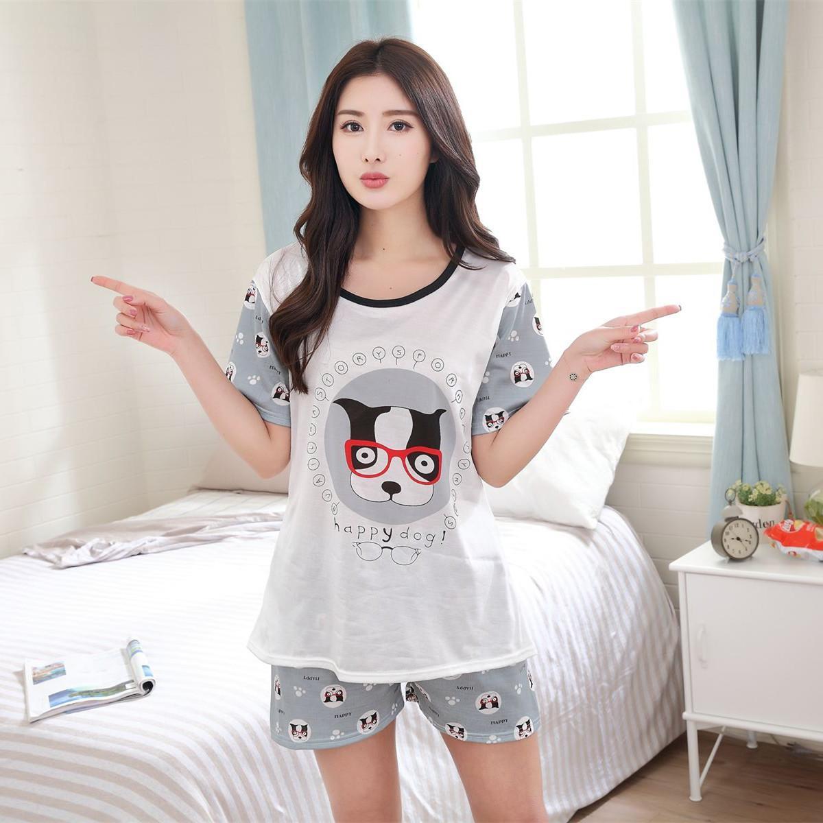 New Summer Sleepwear Short sleeve Lovers pajamas sets men &women silk Cartoon Leisure Home clothes loose couple clothing