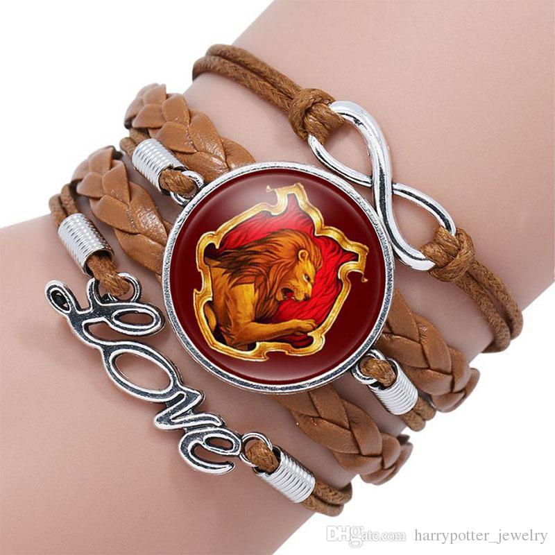 harry Infinity Love Bracelet manchette en cuir Pour filles Corde Bracelets de temps pierre de gemme badge Magic Academy Drop Ship 320055