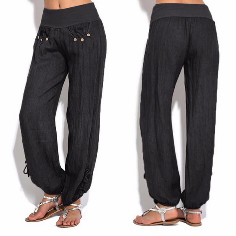 Compre LAAMEI 2018 Moda Mujer Pantalones Cintura Elástica Pantalones De  Talla Grande Pantalones Sueltos Casual De Color Sólido Pantalones Harem  Pantalones ... 89b7d7baa248
