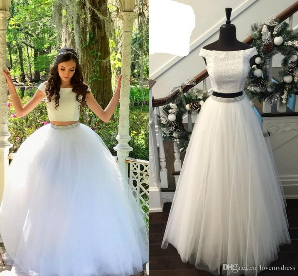 361a1fa65a13b White Ball Gown Long Prom Dresses Off The Shoulder Scoop Neck Two Pieces  Tulle Sequins Beaded Bling Designer Cheap Evening Formal Dress Gown Prom  Dresses ...