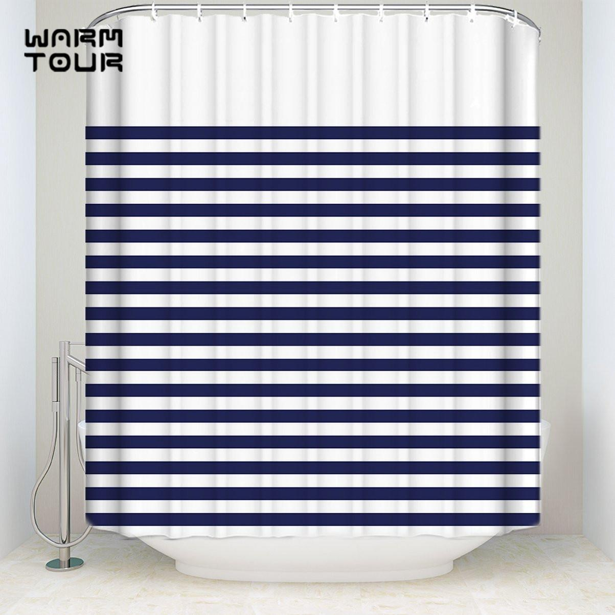 2018 Bath Shower Curtains Fashion Blue And White Stripes Mildew ...