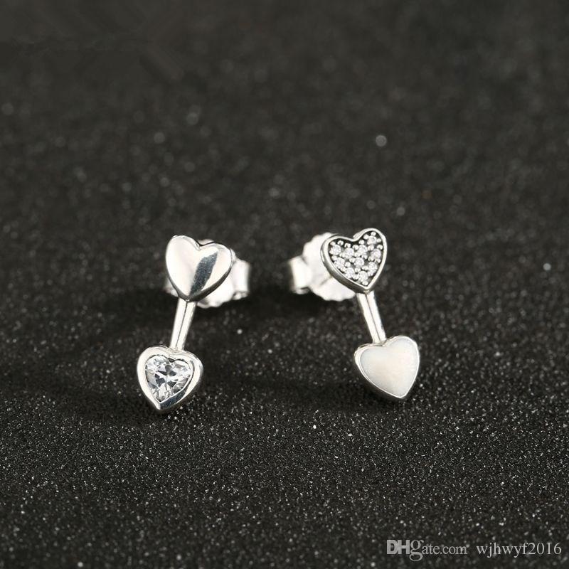 2018 Día de la madre Original 100% 925 plata esterlina Cristal Pave Hearts of Love Stud Pendientes para las mujeres Brincos Pendientes de regalo de la joyería