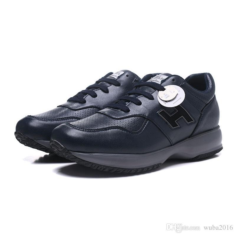 90df1449de43df Acheter Hommes Noir Chaussures De Hogans Classique Interactif Véritables  Baskets Lether Chaussures De Luxe De Designer Hommes Chaussures De Mode  Marche ...