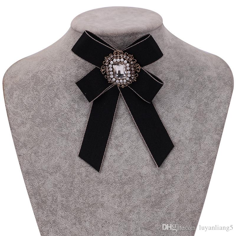 Bow Brooches for Women Necktie 2018 new fashion Crystal Mosaic Brooch Pin Wedding Dress Shirt Brooch Pin Handmade Accessories Gift wholesale