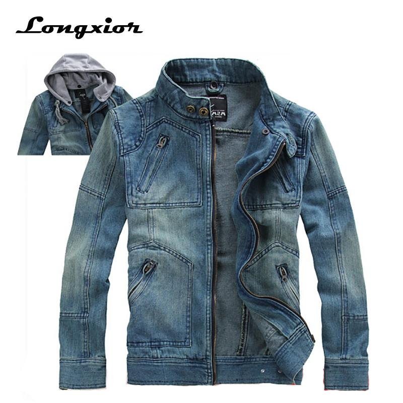 d0929fb2e3b Jeans Jacket Men 2017 Fashion Men s Casual Denim Jackets Autumn Spring  Hoodies Outerwear Plus Size M 5XL Male Hooded Jakcet JJ1 Summer Coats And  Jackets ...
