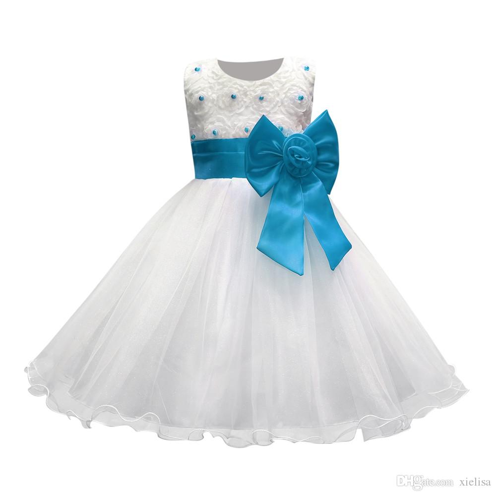Flower girl dresses for weddings white pageant first holy communion lace dresses for baby girls younger child bride SQ226