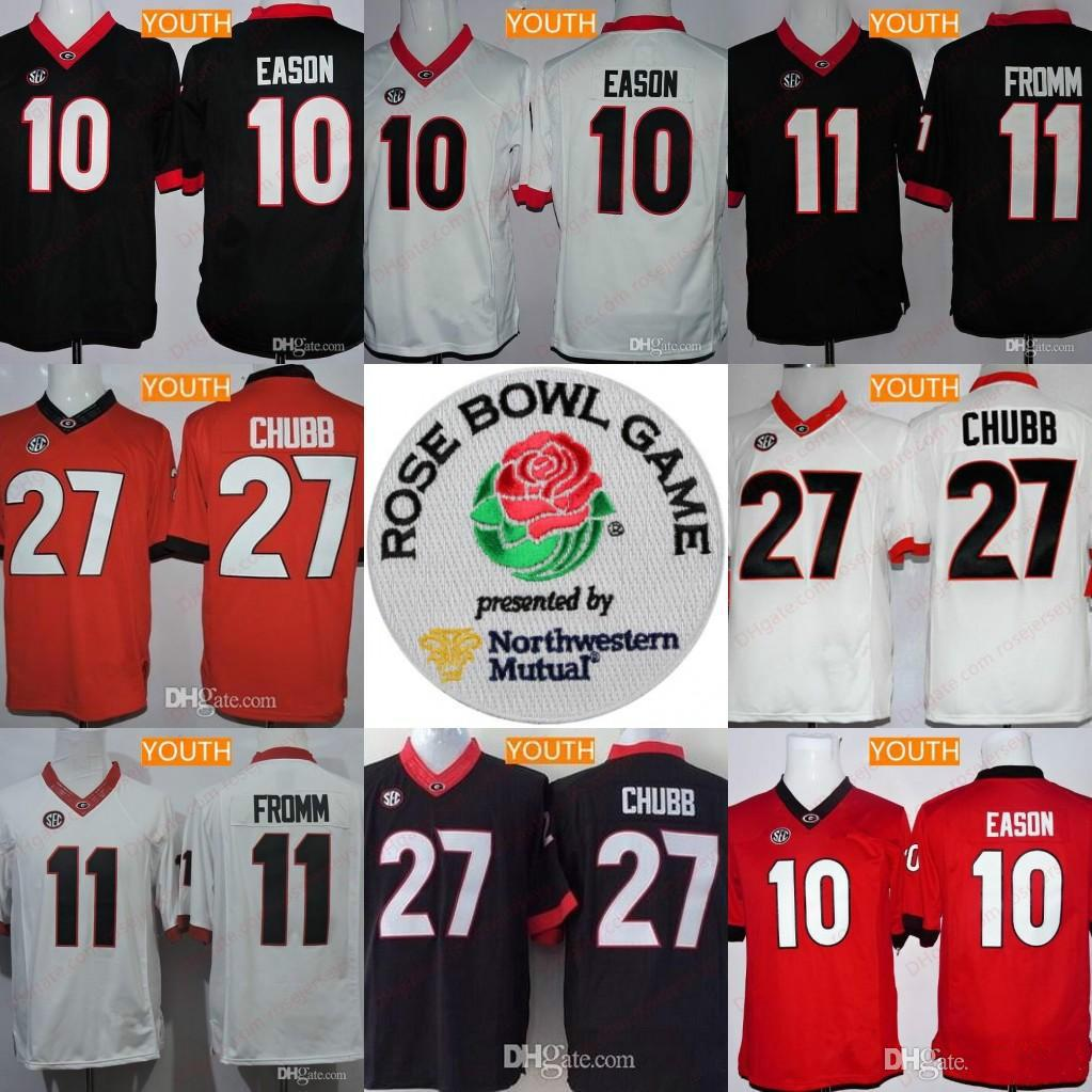 e4e23e87f Youth Georgia Bulldogs  11 Jake Fromm  10 Jacob Eason  27 Nick Chubb Kids  NCAA Football Black Red White 2018 Rose Bowl Championship Jerseys Online  with ...