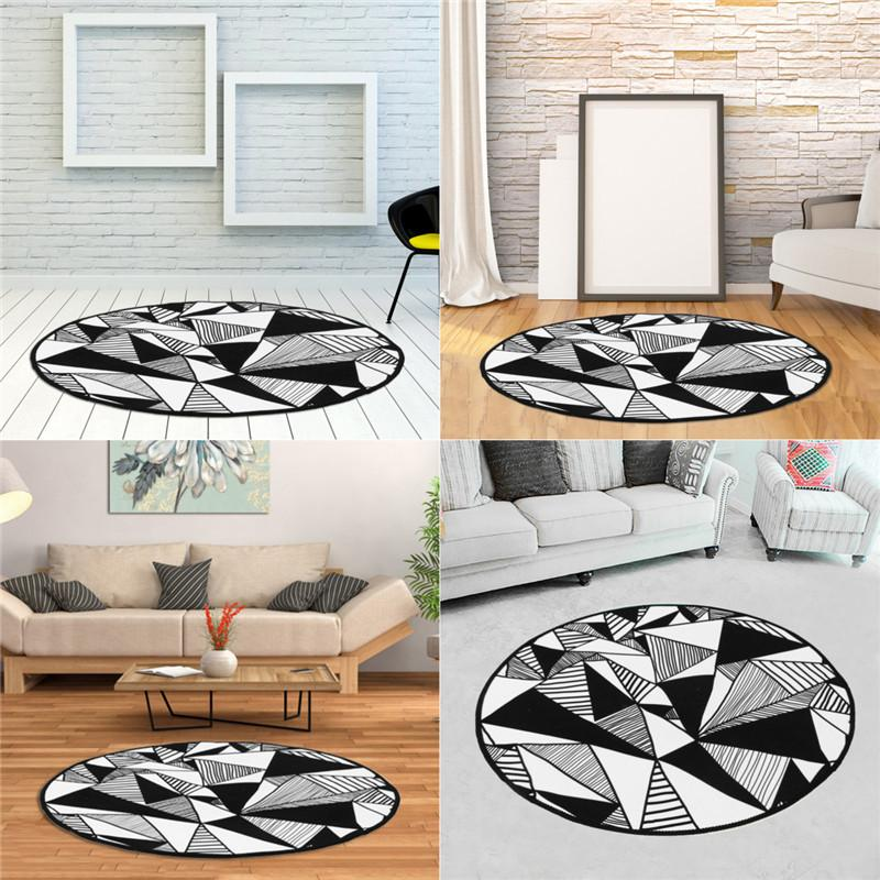 . Round Rugs Abstract Triangle Pattern Carpets Living Room Computer Chair  Area Rug Kids Play Game Tent Floor Mat Cloakroom Rugs