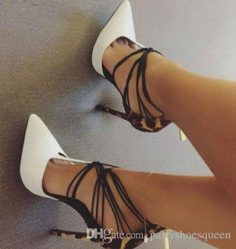 2018 High End Customized White Pointed Toe Dress Pumps Leopard Heel  Patchwork Party Shoes Thin High Heel Cross Strappy T Shape Pumps White Shoes  Wholesale ...