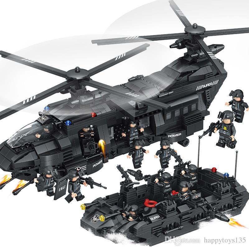 اللبنات Swat team اللبنات Chinook النقل مقارنة مع ارتفاع طوب هليكوبتر الأولاد اللعب