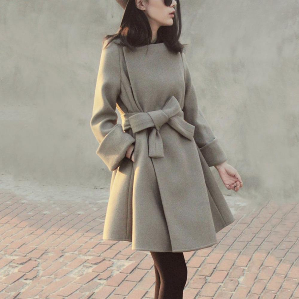 d16b2e142c2e 2019 Women Long Sleeved Slim Woolen Overcoat With Bowknot Belt For Autumn &  Winter A Line Silhouette Medium Length Warm Topcoat 2017 From Merrylady, ...