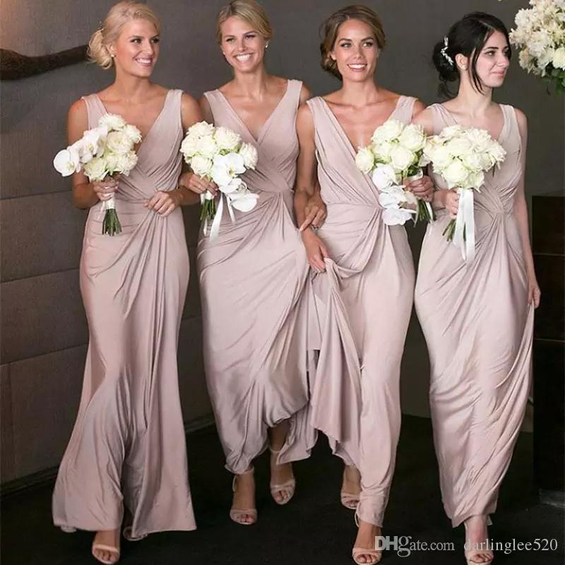 afdb7d9813 Dusty Rose Bridesmaid Dress Long V Neck Floor Length Chiffon Draped Pleated  Sleeveless Maid Of Honor Formal Dress For Wedding Guest Women Bridesmaid  Wedding ...