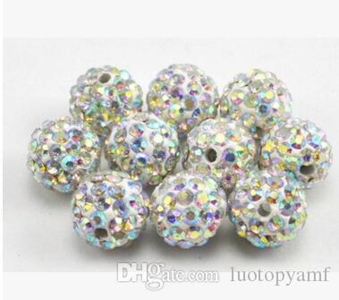 10mm Mixed Color Micro Pave CZ Disco Ball Crystal Shamballa Bead Bracelet Necklace Beads