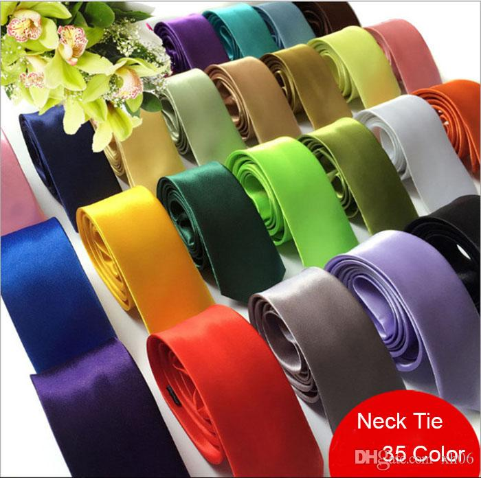 Fashion Men Women Solid Color Plain Satin Polyester silk Neck Ties Casual Skinny men Polyester colorful 5cm*145cm Handmade Wedding Party
